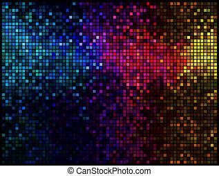 quadrato, luci, astratto, discoteca, fondo., multicolor, vettore, pixel, mosaico