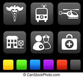 quadrato, medico, bottoni, icone, internet