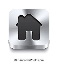 quadrato, metallo, bottone, -, casa, perspektive, icona