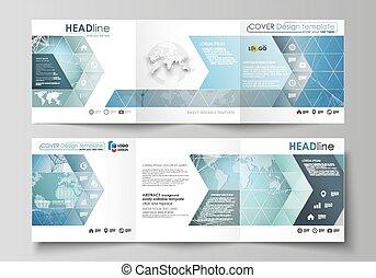 quadrato, moderno, coperchi, disegno, flyer., due, modello, creativo, connettere, mascherine, editable, illustrazione, layout., minimalistic, opuscolo, chimica, dots., medico, linee, vettore, concept., o