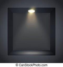 quadrato, nicchia, parete, riflettore, nero