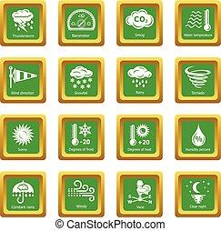 quadrato, set, icone, vettore, verde, weater