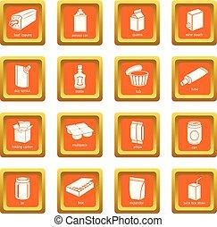 quadrato, set, pacchetto, icone, vettore, arancia, tipi