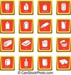 quadrato, set, pacchetto, icone, vettore, rosso, tipi