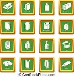 quadrato, set, pacchetto, icone, vettore, verde, tipi