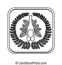 quadrato, silhouette, bottone, corona, coltelleria, bottiglia, foglie, vino