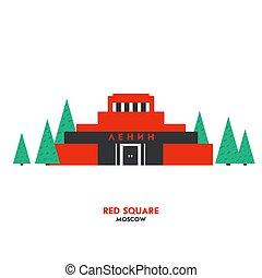 quadrato, simbolo, ussr., mosca, russia., posto, punto di riferimento, russo, durante, journey., turisti, rosso, mausoleo