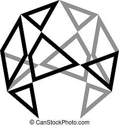 quadrato, triangolo, tridimensional, sfera, 2, basato, illusione