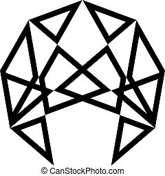 quadrato, triangolo, tridimensional, sfera, basato, illusione