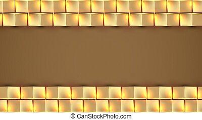 quadrato, vettore, fondo, illustrazione, dorato