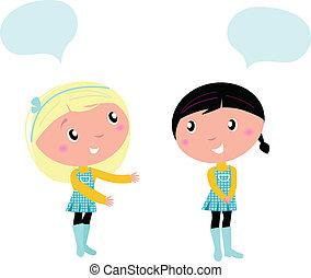 qualcosa, parlare, circa, carino, ragazze, due, scuola