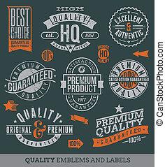 qualità, etichette, guaranteed