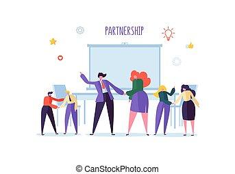 quantità affari, persone, riuscito, tremante, concept., associazione, stretta di mano, accordo, illustrazione, vettore, negotiations., caratteri, riunione, hands.