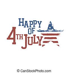 quarto, luglio, eps10, celebration., tipografia, vettore