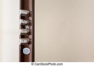 quattro, aperto, sicurezza, porta, bulloni