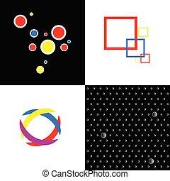 quattro, astratto, vettore, simbolo, illustrazione