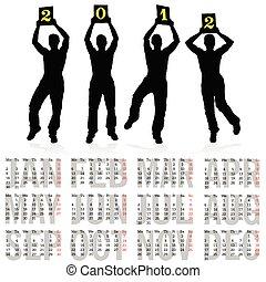 quattro, calendario, uomo, silhouette, 2012