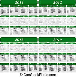 quattro, calendario, verde, anno