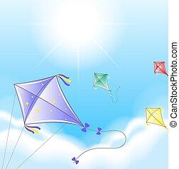quattro, cielo, cervi volanti, colorito