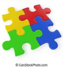 quattro, colorare, confondere pezzi