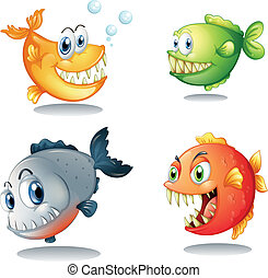 quattro, differente, generi, grande, zanne, pesci