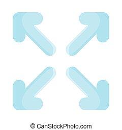 quattro, frecce, disegno, indicazione, stile, appartamento, icona, vettore