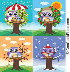 quattro, gufi, stagioni