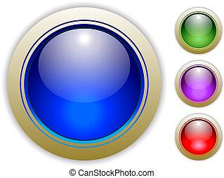 quattro, illustrazioni, bottone, vettore