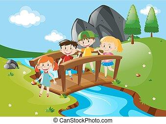 quattro, incrocio, bambini, ponte
