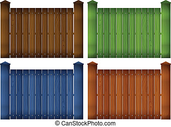 quattro, legno, recinti, colorito