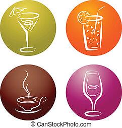 quattro, logos, differente, bevanda, icona