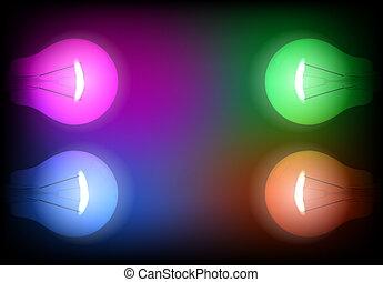 quattro, luce, neon, illustrazione, bulbo