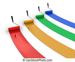 quattro, piste, colorare, vernice