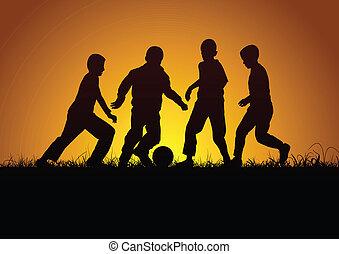 quattro, ragazzi, palla