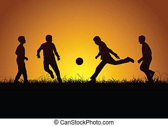 quattro, ragazzi, sport