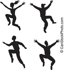 quattro, saltare, persone