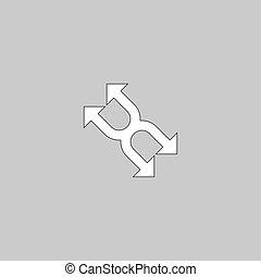 quattro, simbolo, computer, frecce