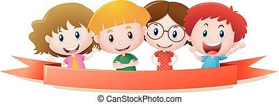 quattro, sorridente, bambini, sagoma, etichetta