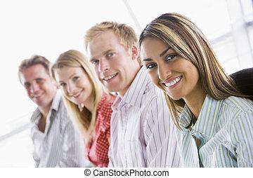 quattro, sorridente, dentro, businesspeople, seduta