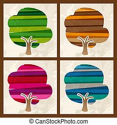 quattro, stagione, multicolor, set, albero