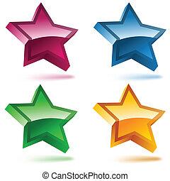quattro, stars., set, baluginante, 3d
