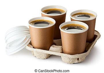 quattro, supporto, portar via, caffè, aperto