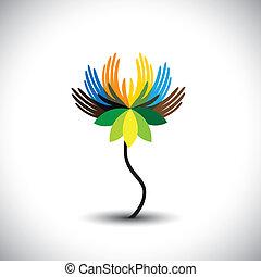 questo, insieme, arcobaleno, graphic., esposizione, unità, fiore, mani, concetti, comunità, vettore, illustrazione, colors-, acqua, persone, ecc, lily(lotus), umano, petali, alleanza, consiste