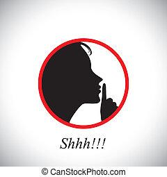 questo, ragazza, indicare, donna, &, fermata, usando, innalzamento, shh, concetto, giovane, silenzioso, parlare, contiene, rumore, grafico, -, mano, detto, essere, fabbricazione, lei, indice, vector., gesturing