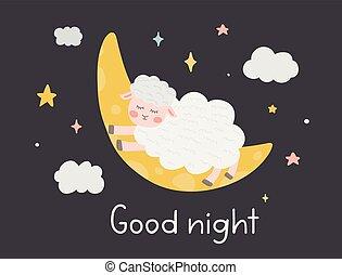 quote., fondo., sheep, notte, cartelle, carino, mano, luna, vettore, bambino, caratteri, doccia, scuro, illustrazione, augurio, capretto, manifesto, nursery., scritto, stelle, nubi, buono, disegnato