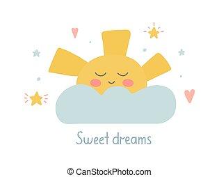 quote., notte, in pausa, disegno, cartelle, carino, mano, vettore, bambino, caratteri, doccia, illustrazione, augurio, fare un sogno, capretto, nursery., dolce, sole, scritto, poster., stelle, hearts., clipart, buono, disegnato