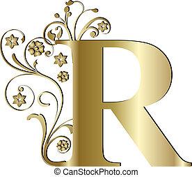 r, lettera, oro, capitale