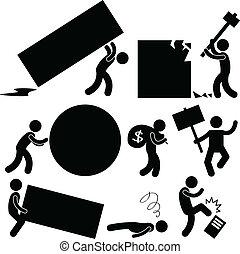 rabbia, lavoro, affari, carico, persone