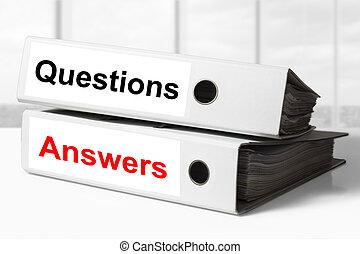 raccoglitori, ufficio, domande, risposte