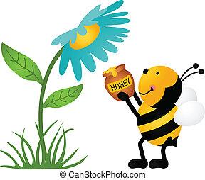 raccolta, miele, fiore, ape